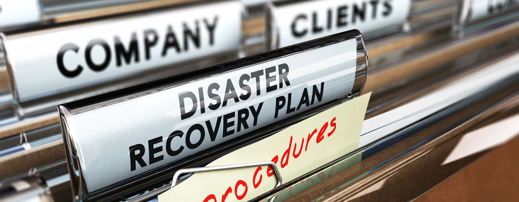 hanging files with label that says Disaster Recovery Plan