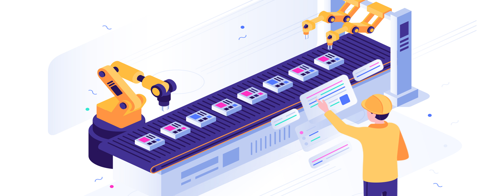 illustration of automated AI production assembly line