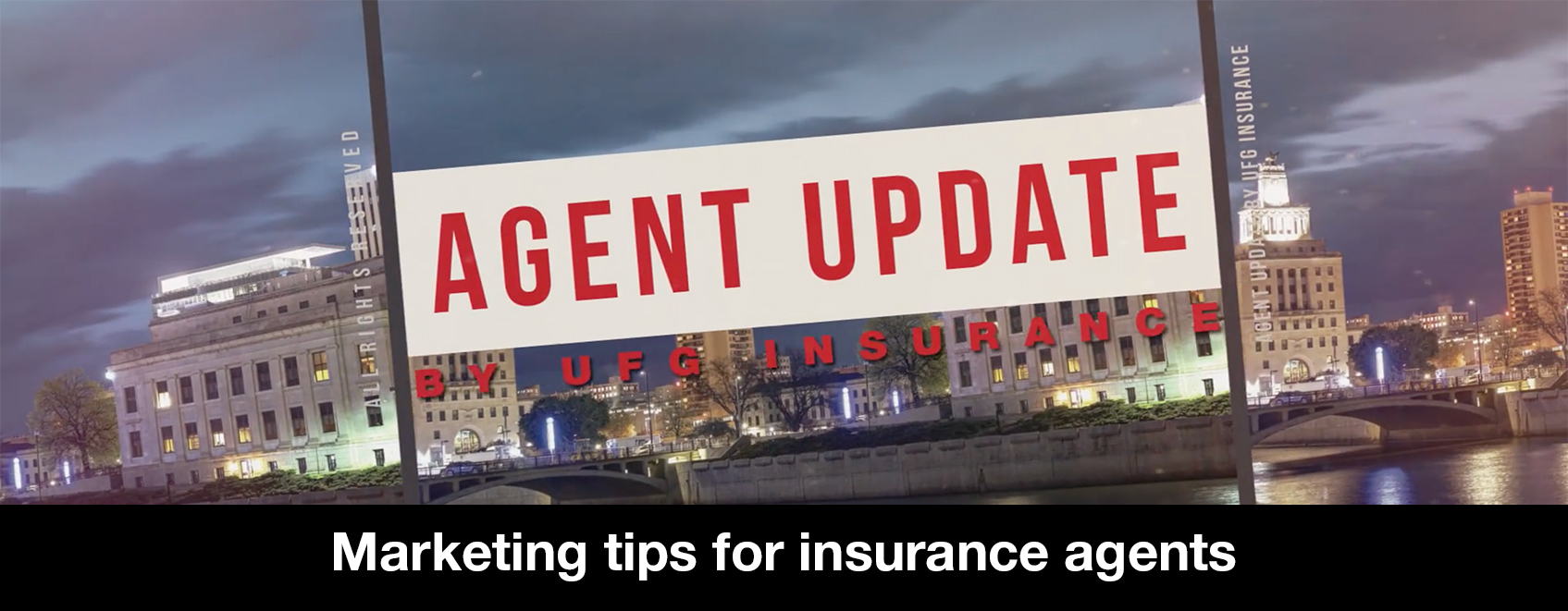 Agent update image with title of video, Marketing tips for insurance agents.