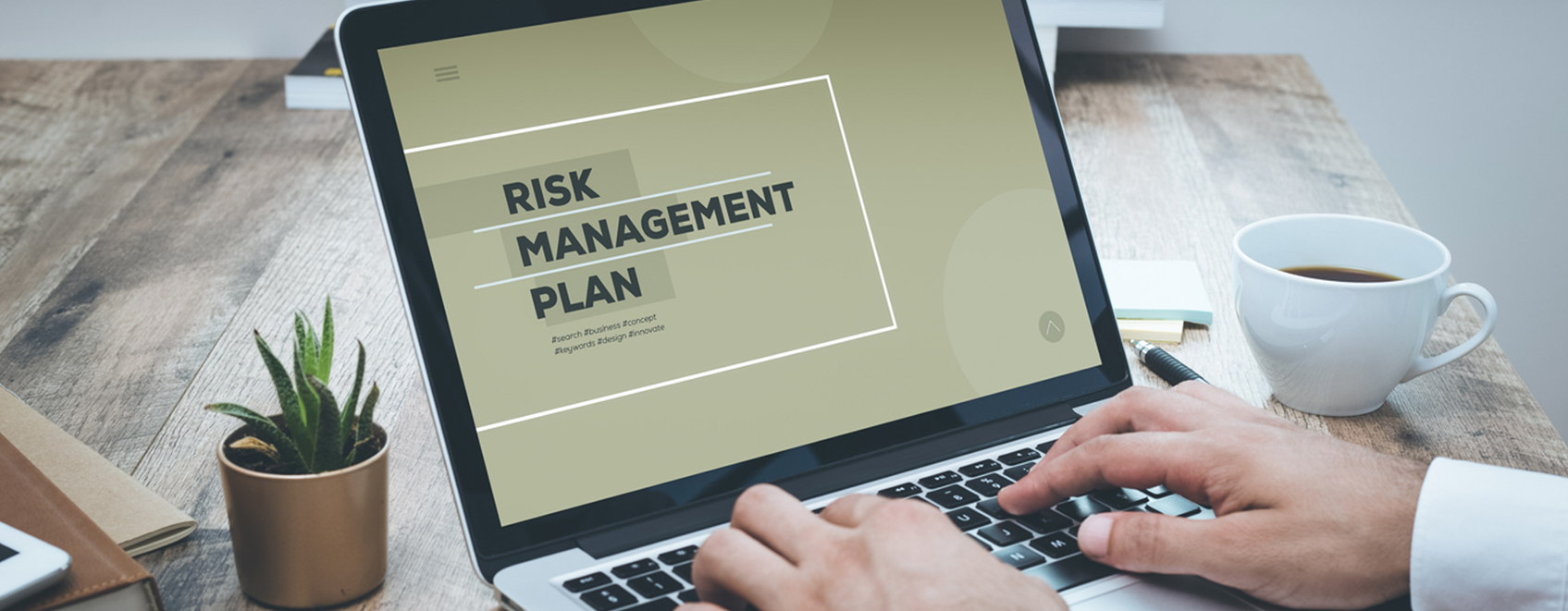person typing at on laptop, with screen that says Risk Management Plan