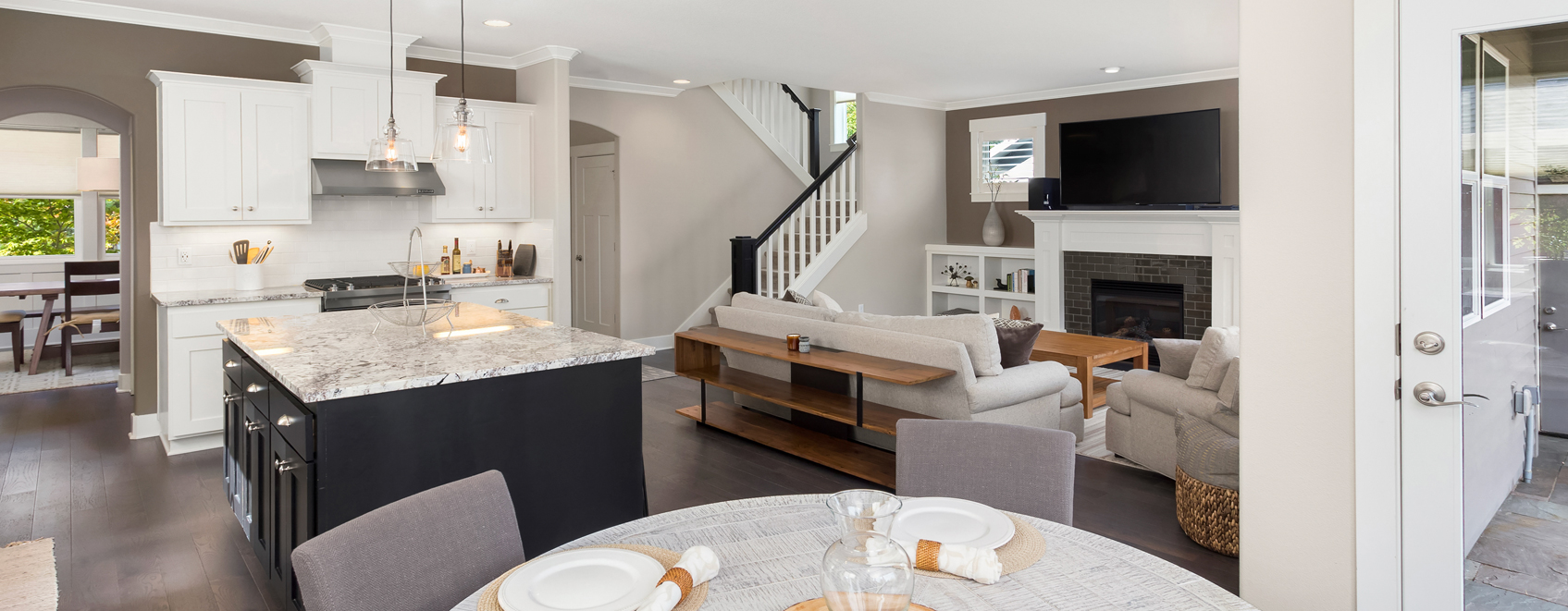 Bright, open kitchen and living room.